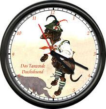 Dancing Dachshund German Wiener Dog Leather Lederhosen Costume Sign Wall Clock