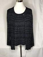 Chico's Design 3 Black Sparkle Cardigan Shell 2 PC Set Large Dressy Cocktail