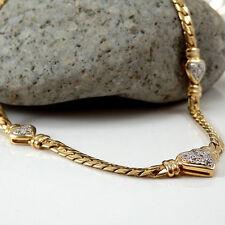 KETTE  in 585/- 14k. Gelbgold mit Diamantbesatz