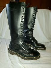 Doc Dr Martens 9663 Black Leather 20 Eye Tall Knee Platform Boots UK 5 US 7