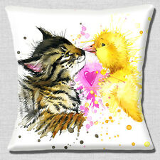 "CUTE TABBY KITTEN AND YELLOW DUCKLING HEART KISSING 16"" Pillow Cushion Cover"
