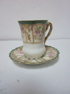 LS & S LIMOGES FRANCE GREEN & GOLD HAND PAINTED CUP & SAUCER