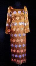 Raro Diseñador a Medida Calidad 604mS Marrón Seda Brocado Vestido Talla 4