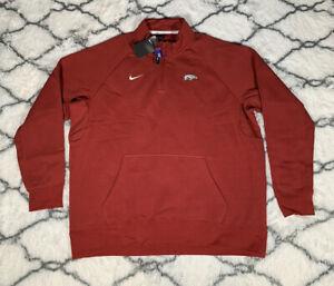 NIKE Arkansas Razorbacks 1/4 Zip Crimson Sweatshirt Mens Sz 2XL *NEW* CN9342-698