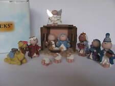 Angel Cheeks By Russ 9 Piece Nativity Set, Creche, Wise Men, Holy Family Mib