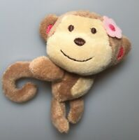 "5"" Mini Carter's Brown Monkey Plush Stuffed Animal Pink Flower Lovey Baby Toy"
