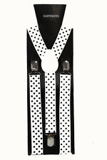 White Black Polka Dot  Adjustable Braces Unisex Fancy Dress Clip On Slim 2.5cm