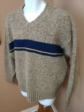 ABERCROMBIE & FITCH Sweater Men's L 100% WOOL V-Neck Brown & Blue Stripe