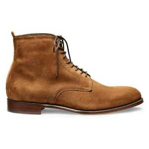 Men Handmade Camel Suede Leather Cap Toe Ankle High Lace Up Derby Boots For Men
