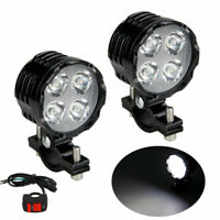 2pcs 40W Motorcycle LED Headlight Driving Spot Light Fog Lamp with Switch 12-80V