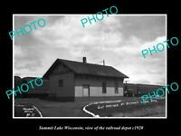 OLD LARGE HISTORIC PHOTO OF SUMMIT LAKE WISCONSIN, RAILROAD DEPOT STATION c1920