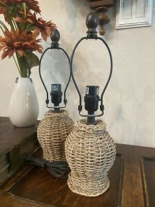 (2)Coastal Table Lamps Woven Seagrass for Bedroom Bedside Nightstand, Kirkland's