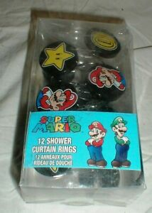 Lot-12 NEW Nintendo SUPER MARIO Brothers Shower Curtain Rings-Hooks Stars-Coins