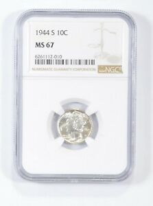 MS67 1944-S - Mercury Silver Dime - NGC Graded *697