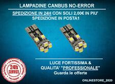 2 Lampade T10 8 Led Smd Canbus No-Error auto luci posizione targa interni Bianca
