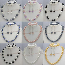 8/10mm Multicolor Shell Pearl Round Beads Necklace Bracelet Earrings Set 18''