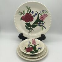 Vintage Blue Ridge Southern Pottery Bluebell Bouquet 4pc Place Setting