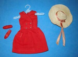 Vintage SKIPPER Doll 1964 RED SENSATION dress hat shoes fashion #1901 Barbie sis