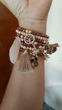 Semanario Stretch Bracelet Set Crystal Beads 14k Gold Plated Charms