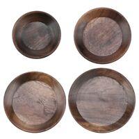 Round Wooden Serving Tray Plate Coffee Tea Desert Food Fruit Platter Home Decor