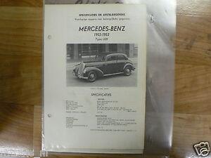 ME07-MERCEDES-BENZ TYPE 220 1952-1953 -TECHNICAL INFO SEDAN VINTAGE CAR