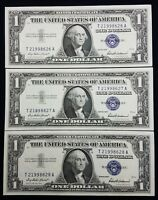 SEQUENTIAL LOT OF 3 1957 SILVER CERTIFICATES  NOTES BLUE SEAL DOLLAR BILLS