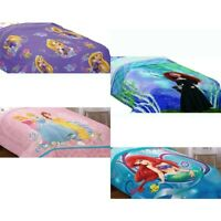 DISNEY PRINCESSES BED COMFORTER - Rapunzel Cinderela Ariel Bedding Blanket Cover