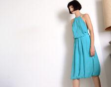 vintage STEPHEN BURROWS 70s disco halter silk bubble dress