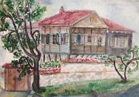 Landscape vintage watercolor painting house impressionism