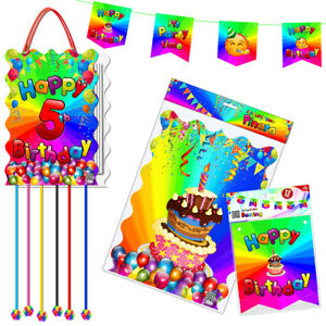 5th Birthday Piñata with Flags Banner Happy Party Fun Pull String Theme Game New