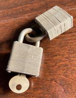 Lot of 2 Vintage Master Lock Padlocks No 7 Brass Walking Lion Keyed Alike