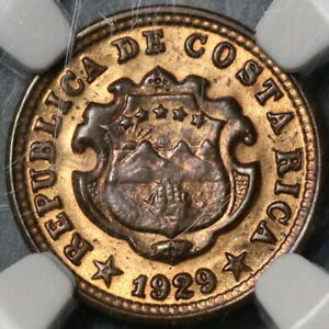 1929 NGC MS 63 Costa Rica 5 Centimos Mint State Bronze Coin (21030704C)