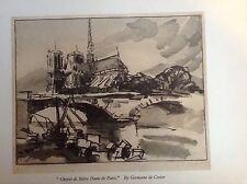 1930 s Gravure sur bois Imprimer Chevet de Notre-Dame de Paris par Germaine de Coster