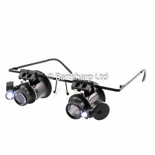 Lupa Ojo De Gafas Gafas 20x LED Cabeza Lupa Lupa manos libres