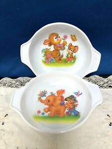 Two Vintage MELSAS 1970's melamin children's cereal bowls featuring cute animals