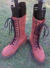 DR DOC MARTENS MENS 8 WOMENS 6 RED LEATHER 14 HOLE CALF LENGTH BOOTS TWIN ZIPS
