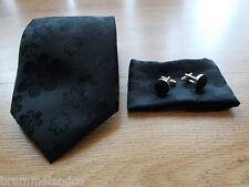 Cravate en soie noir fleuri NEUVE + boutons de manchette + pochette