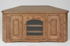 #1898 Solid Wood  Country Oak Corner TV Stand
