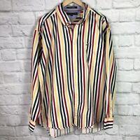 Tommy Hilfiger Men's XL Shirt Striped Multicolor Button-Front Long Sleeve