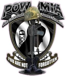 """POW MIA YOU ARE NOT FORGOTTEN  Decal 5"""" x 4.5"""""""