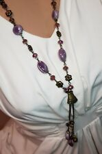 Amethyst Crystal, Glass Beads, Ceramic Beads Chain Fashion Necklace