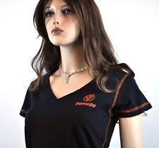 Jägermeister USA femmes V neck t-shirt taille S/M Cerf logo noir orange couture