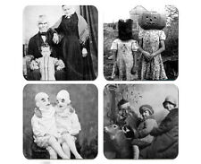 Creepy Vintage PhotoGraphs Coaster Set Of 4 Neoprene Washable Bar Coffee Table