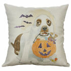 Halloween Dog Pillow Cover Cushion Case 17x17 Cotton Linen Ghost Costume Bats