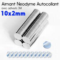 10x2mm Lot Aimant Néodyme + Autocollant Adhesif 3M Neodymium Adhesive Magnet Pad