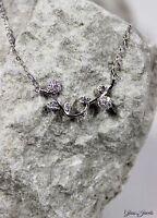 Glass Jewels 925 Sterling Silber Kette Collier Blume Zirkonia Blüte Ranke #BS001