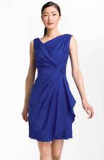 Suzi Chin Pleated Cotton Blend Dress Blue 14 $118