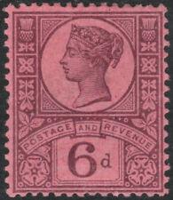 1887 JUBILEE SG208 6d DEEP PURPLE ON ROSE PAPER FINE MINT VERY LIGHT HINGE K37(2