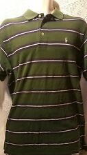 Polo by Ralph Lauren Green Blue White Striped Shirt Casual Golf Size L Bardmoor