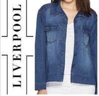 Liverpool Jeans Belfast Wash Denim Trapeze Swing Button Jacket NWT Size S Small